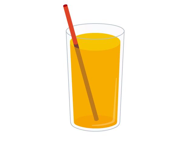 冷たいオレンジジュースの無料イラスト