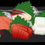マグロ、サーモン、イカ、ハマチを盛り合わせた刺身の無料イラスト