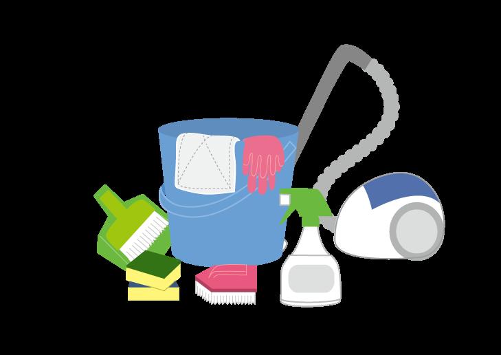 掃除機とバケツのイラスト