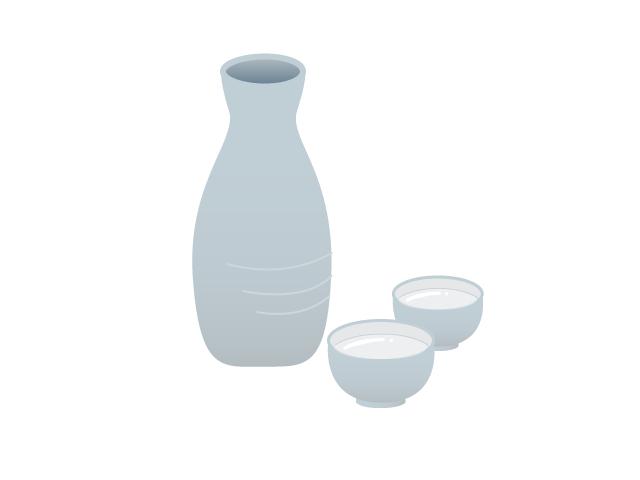 徳利に入れられた日本酒の無料イラスト