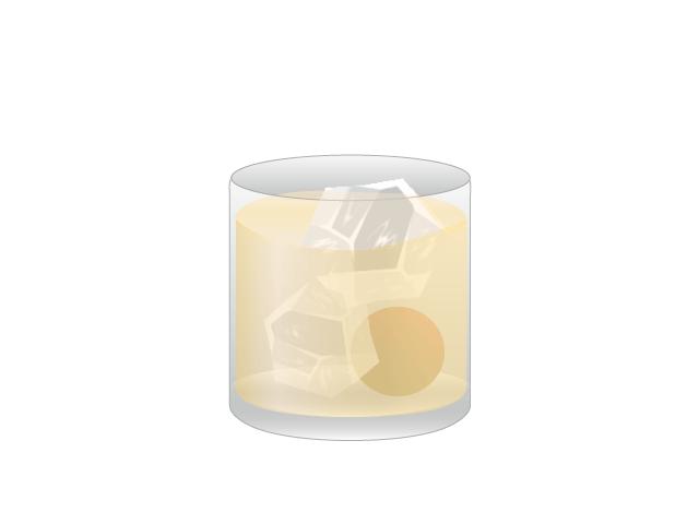 コップに注がれた梅酒の無料イラスト