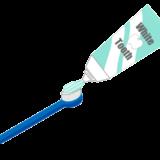 歯磨き粉と歯ブラシがセットになった無料イラスト