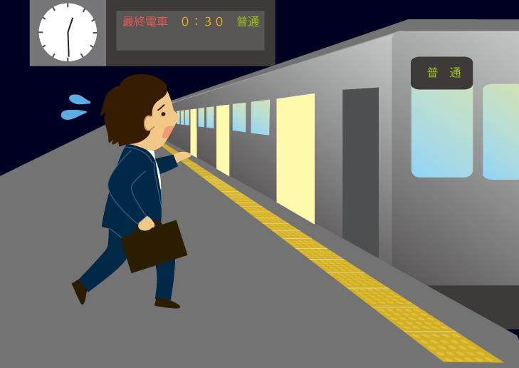 終電にぎりぎりで乗り込む人の無料イラスト