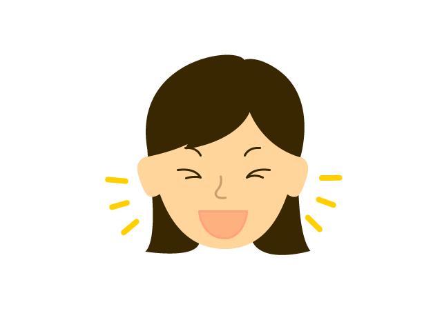 若い女性の喜び表情無料イラスト