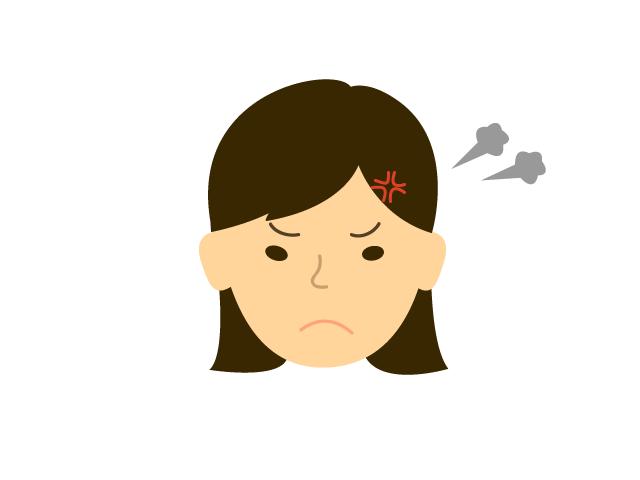 若い女性が怒っているときの無料イラスト