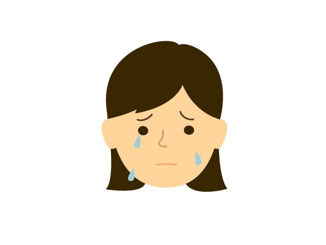 若い女性が泣いているときの無料イラスト