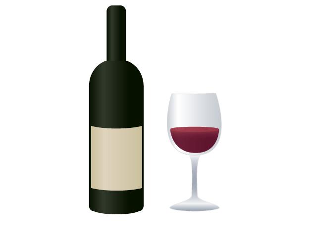 赤ワインの無料イラスト