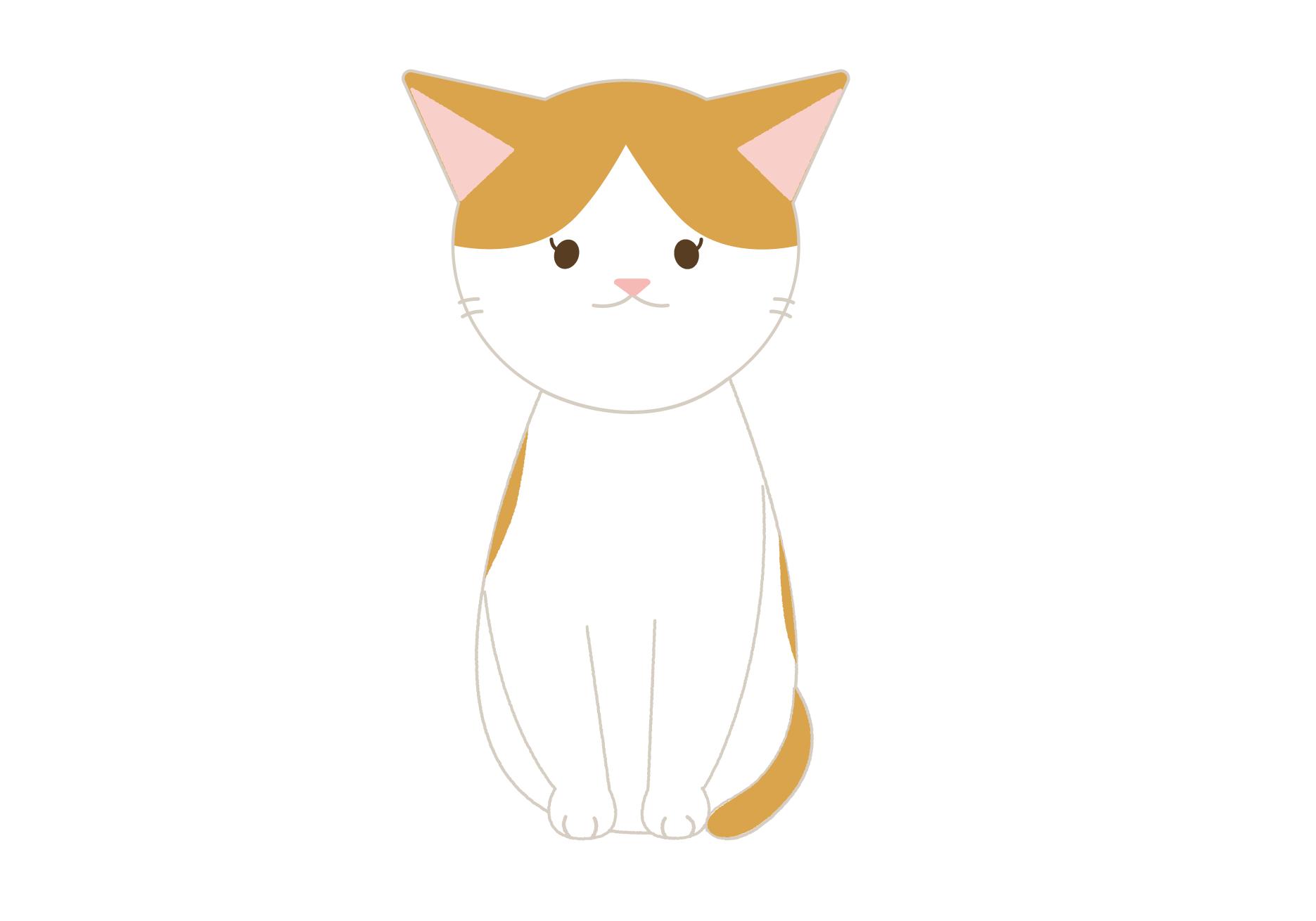 おすわりするネコのイラストカラー別に4種類 イラスト本舗