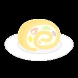 フルーツの入ったロールケーキのイラスト
