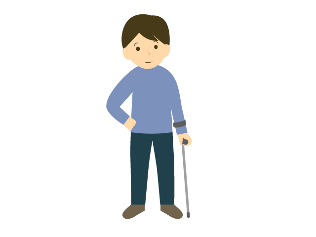 杖をついている男性のイラスト
