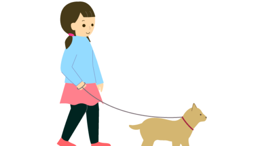 犬の散歩をしている人(女の子、成人女性)の無料イラスト