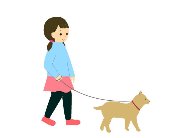 犬の散歩をしている人女の子成人女性の無料イラスト イラスト本舗