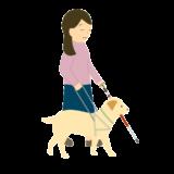 盲導犬と女性のイラスト