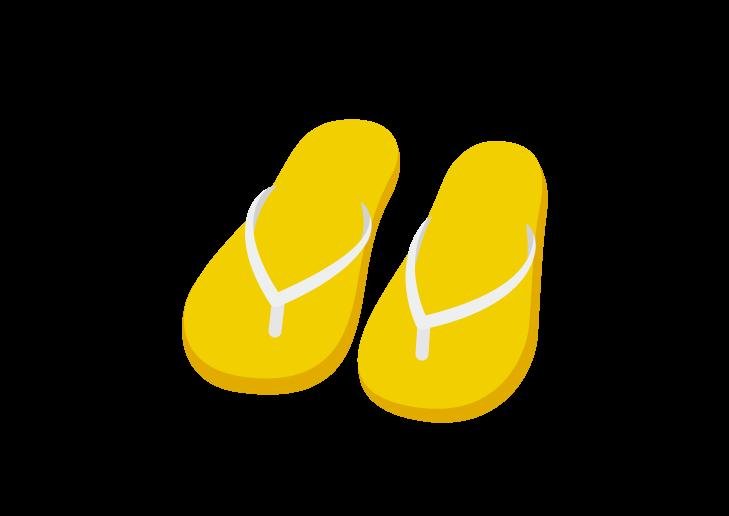 黄色のビーチサンダルのイラスト