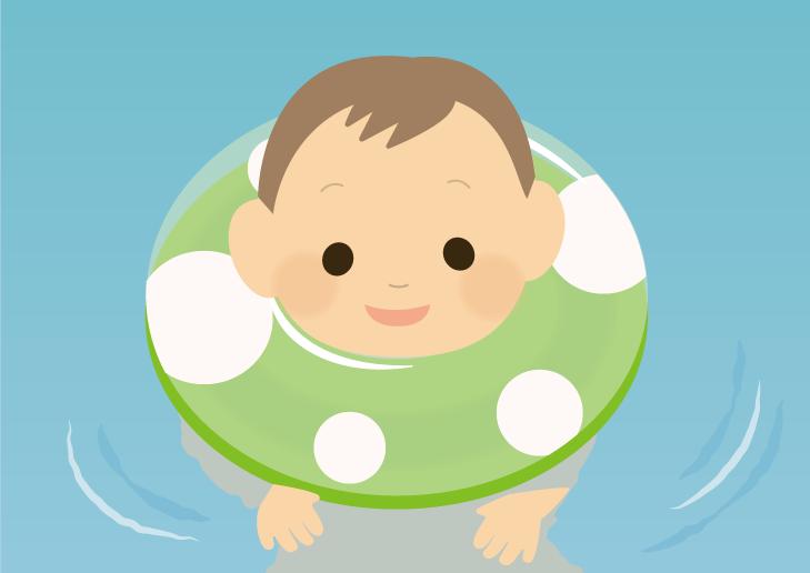 浮き輪で遊ぶ赤ちゃんのイラスト