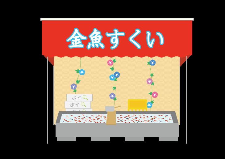 夏祭り金魚すくい出店のイラスト イラスト本舗