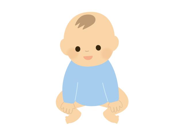 おすわりしている赤ちゃん(男の子)のイラスト