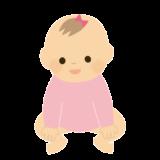 おすわりしている赤ちゃん(女の子)のイラスト