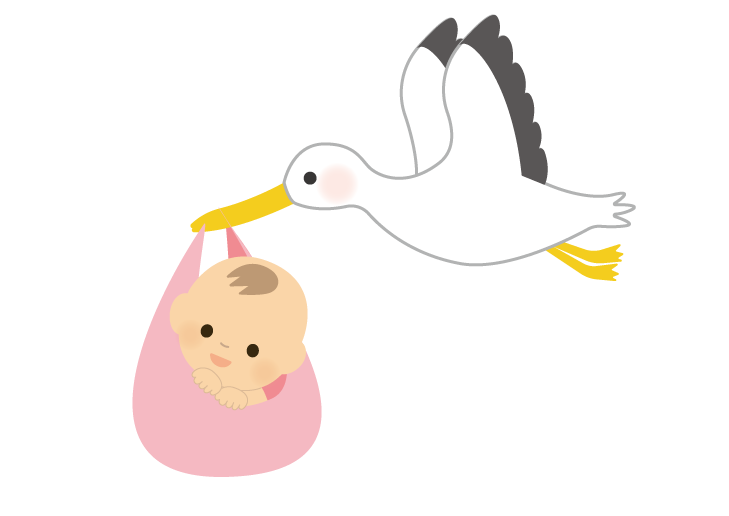 赤ちゃん(女の子)を運ぶコウノトリのイラスト