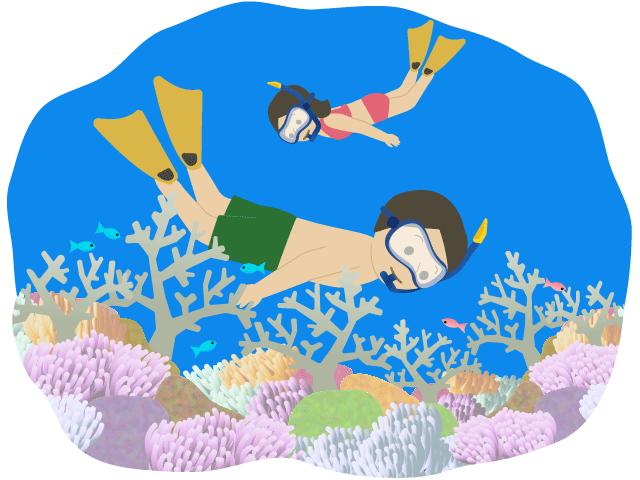 珊瑚の綺麗な海でシュノーケリングをしている人のイラスト