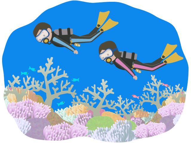ダイビングしている人