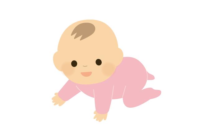 ハイハイしている赤ちゃん(女の子)のイラスト