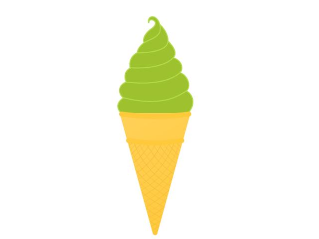抹茶ソフトクリームのイラスト