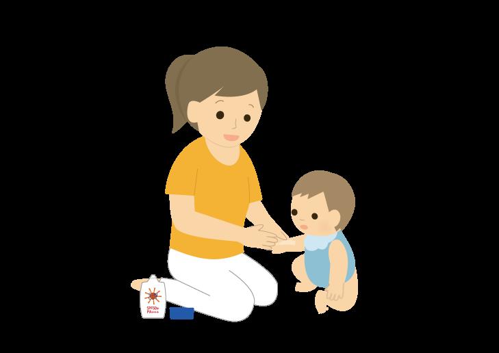 赤ちゃんに日焼け止めを塗っているお母さんのイラスト イラスト本舗