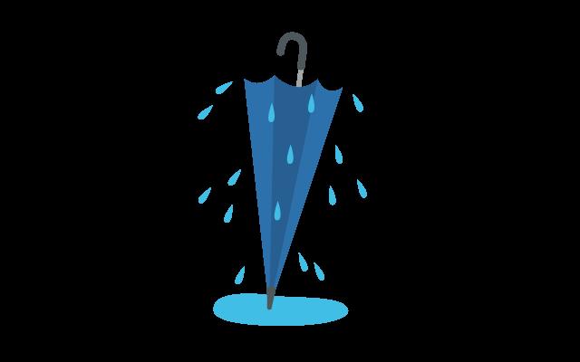 びしょ濡れの傘のイラスト