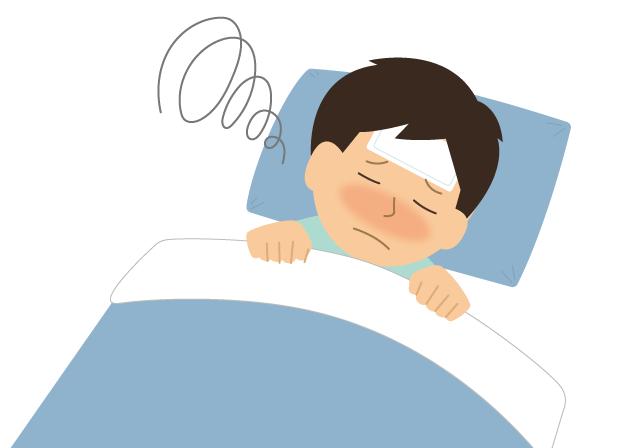 熱で寝込んでいる人