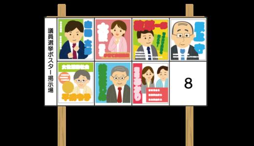掲示板に貼られた選挙ポスターのイラスト