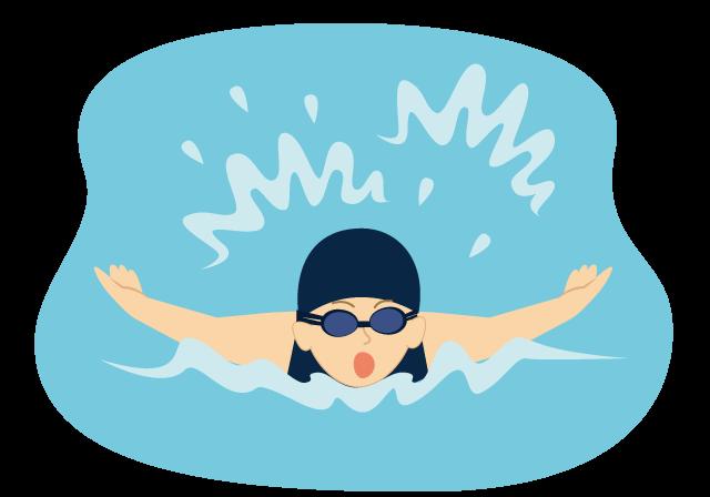 水泳している人