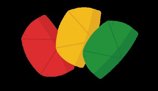 水泳帽のイラスト(赤・黃・緑)